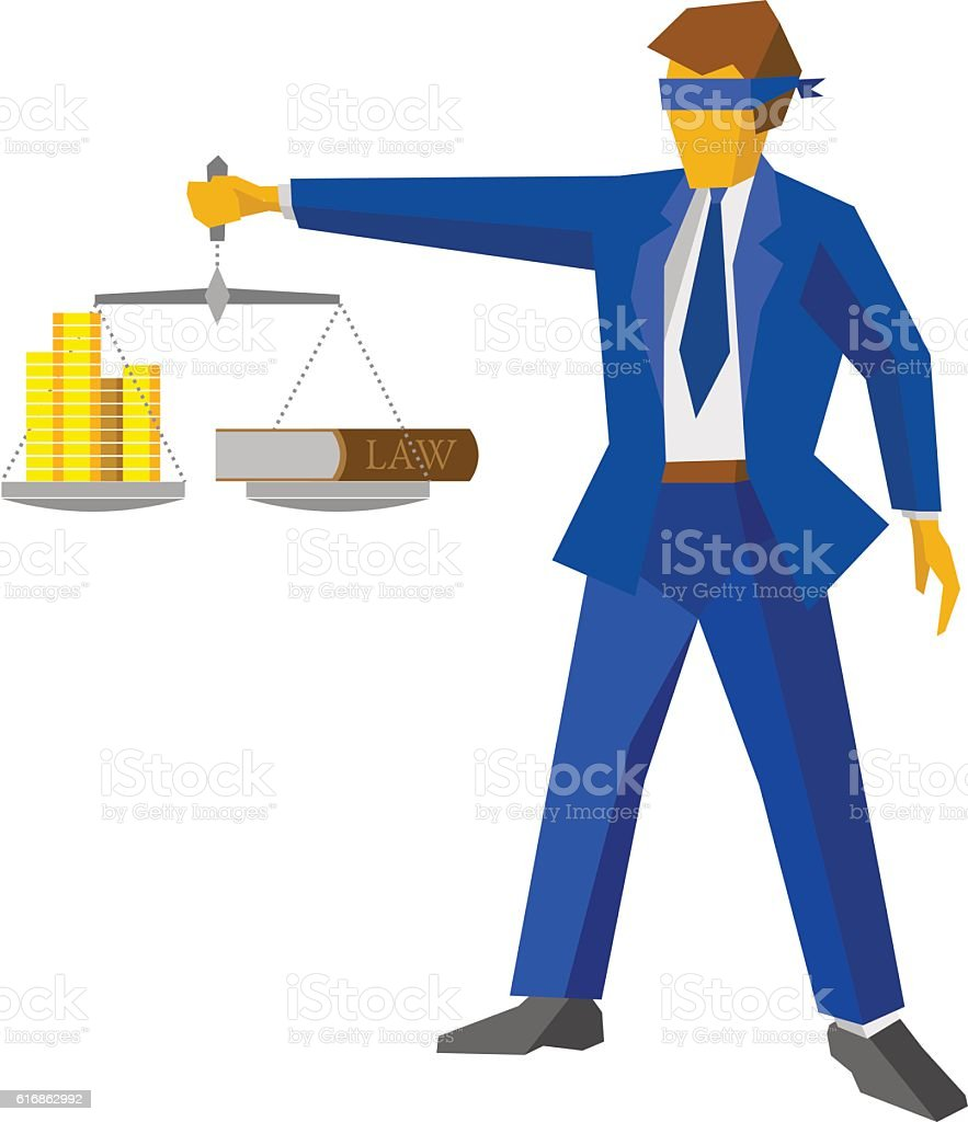 Man with balance, looks like god of justice. Law concept. vector art illustration