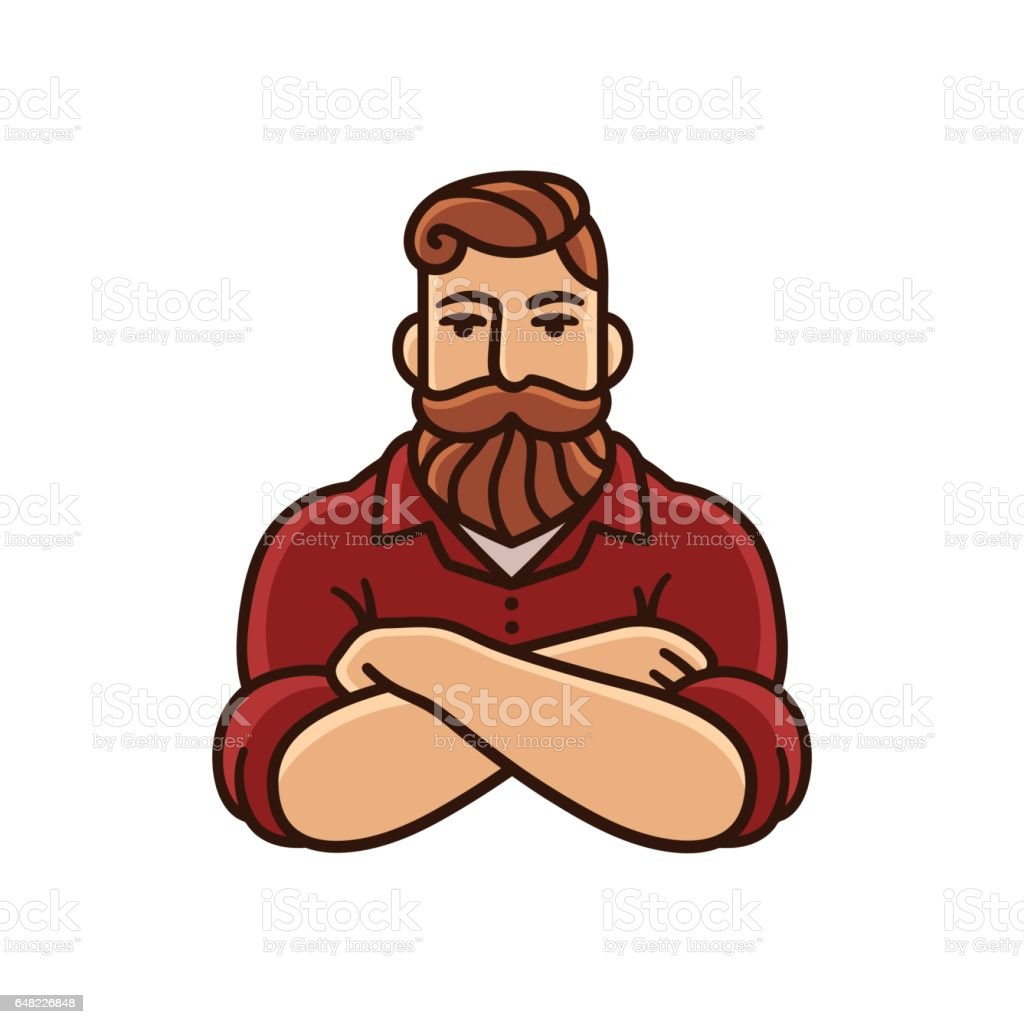 Man with beard and mustache vector art illustration