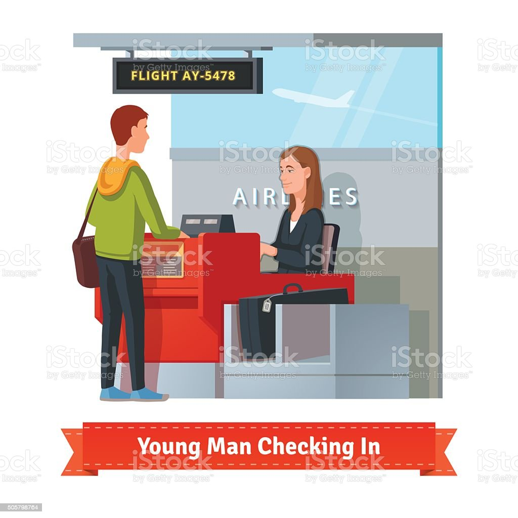 Man with big suitcase checking in at the airport vector art illustration