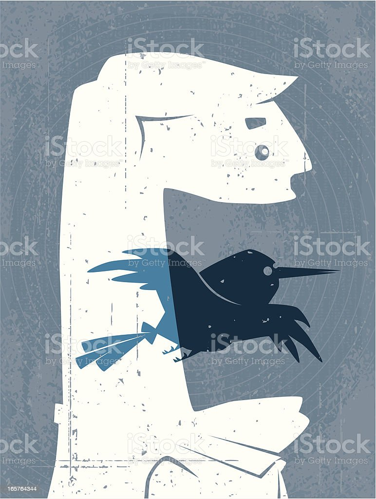 man with blue bird silhouette royalty-free stock vector art