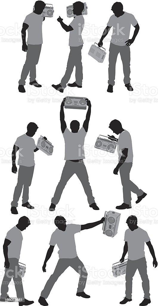 Man with boom box vector art illustration