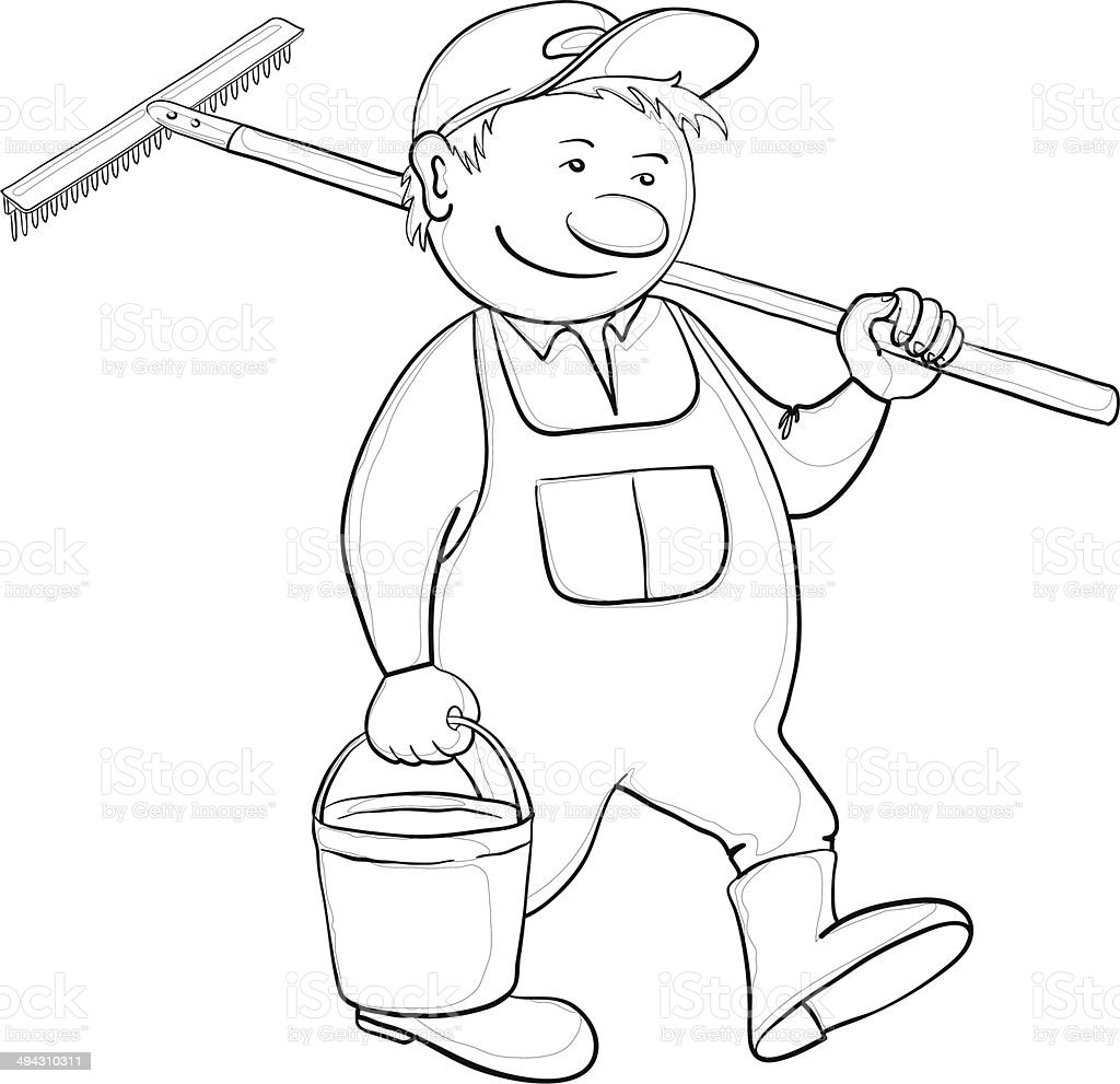 Man with bucket and rake, contour royalty-free stock vector art