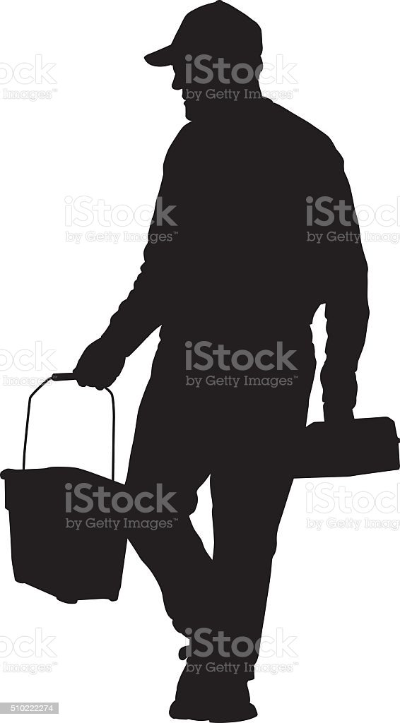Man With Bucket And Toolbox vector art illustration