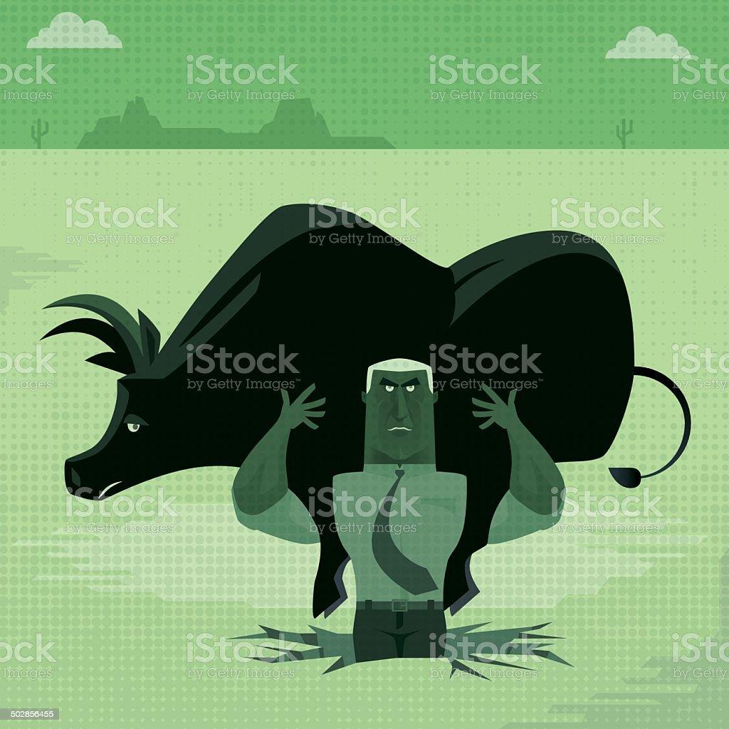 man with bull royalty-free stock vector art