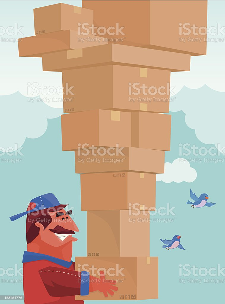 man with cartons royalty-free stock vector art