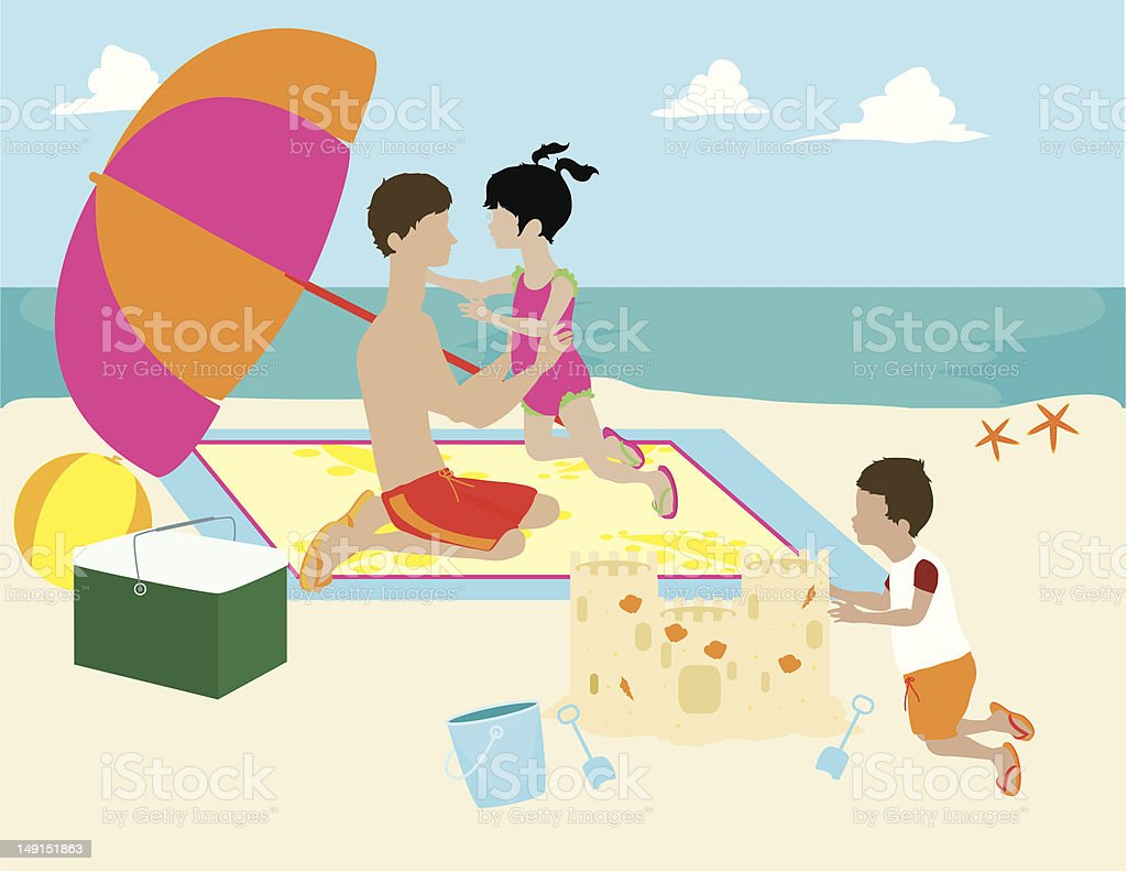 Man with Children on Beach royalty-free stock vector art