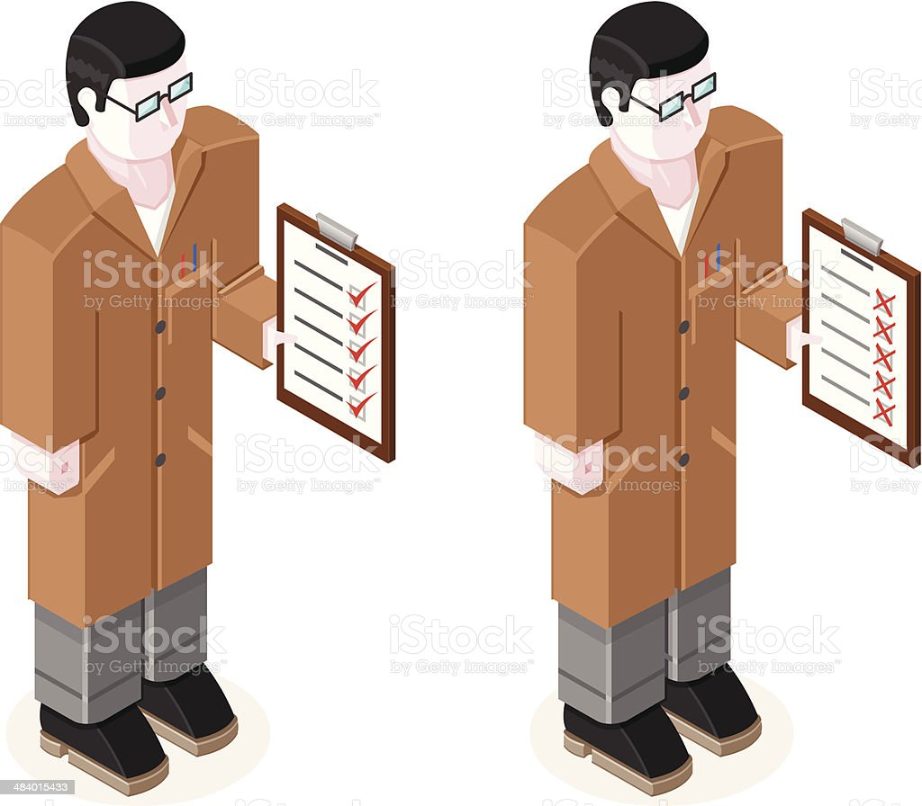 Man with clipboard performing test vector art illustration