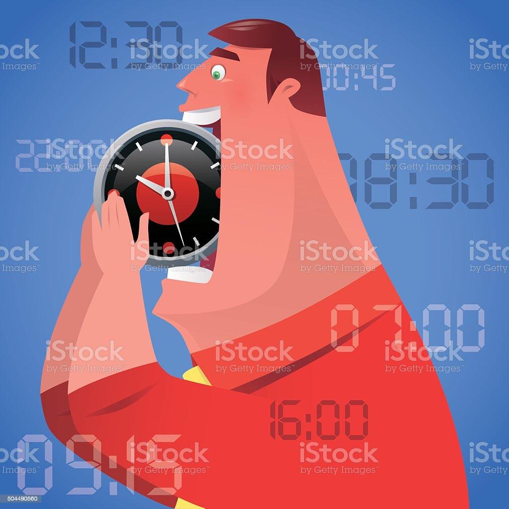 man with clock vector art illustration