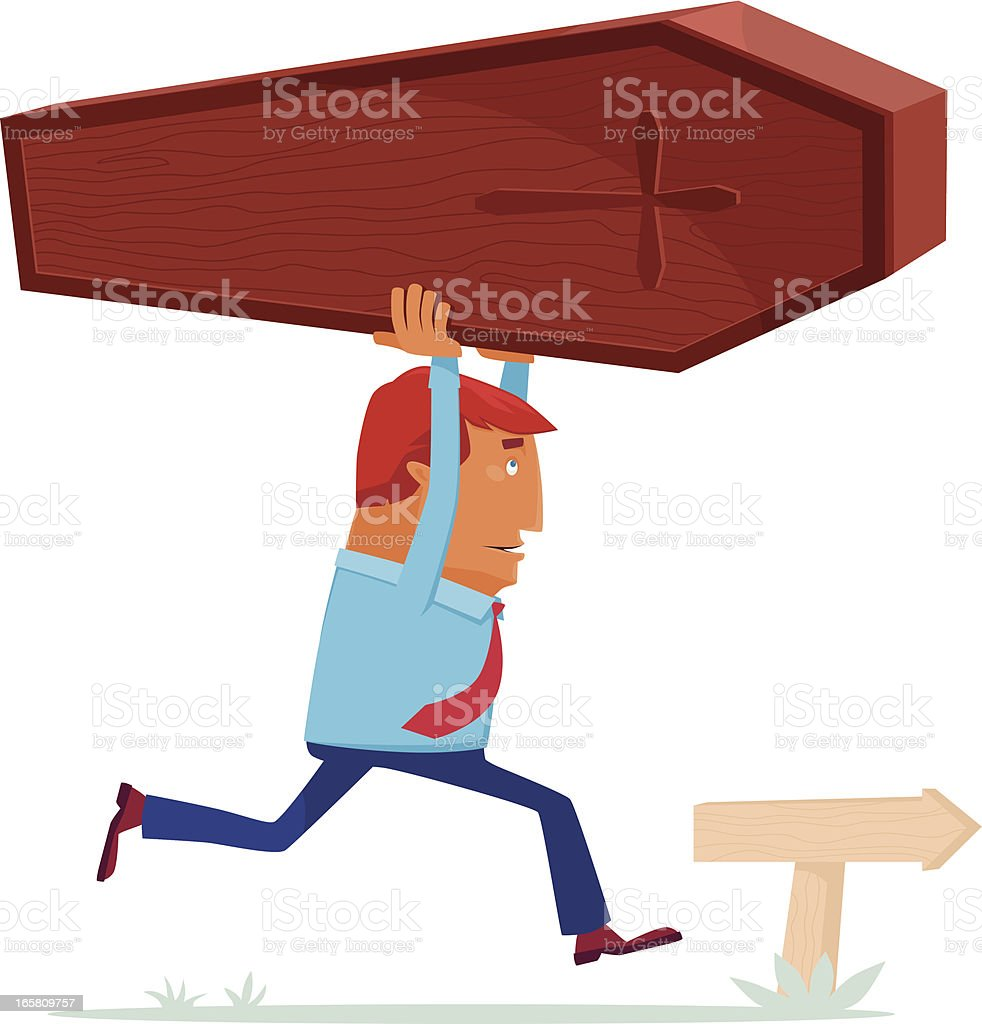 man with coffin vector art illustration