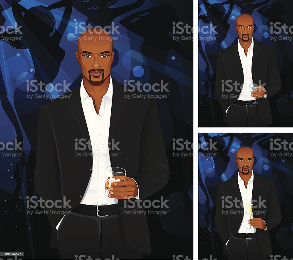 Man with cognac or blue martini and champagne royalty-free stock vector art