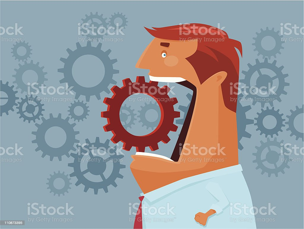 man with cogs royalty-free stock vector art
