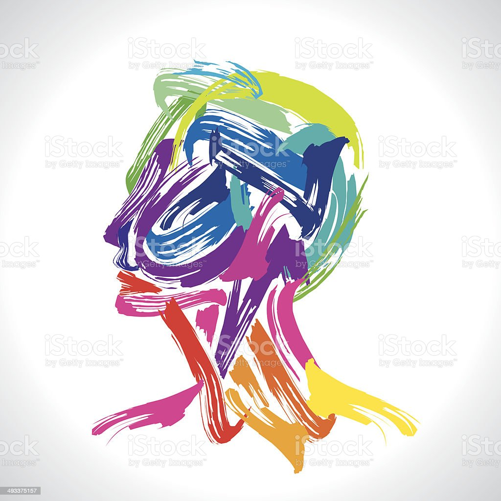 man with colorful image vector art illustration