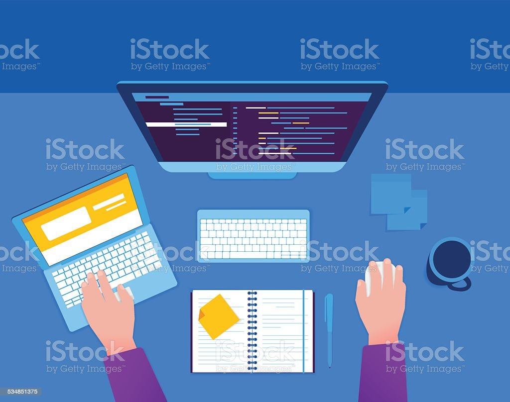 Man with computer and laptop vector art illustration