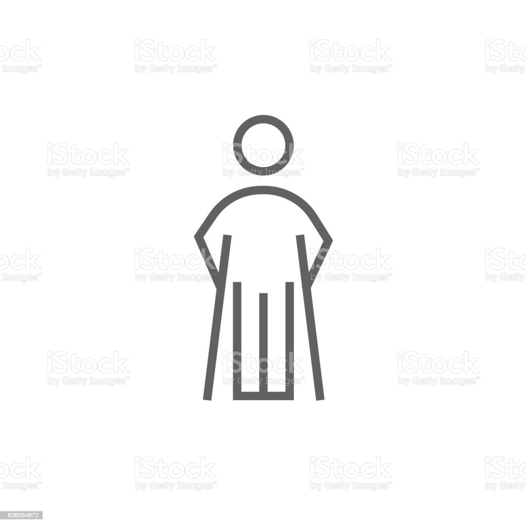 Man with crutches line icon vector art illustration
