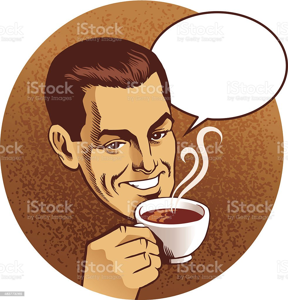 Man With Cup of Coffee and Speech Balloon vector art illustration