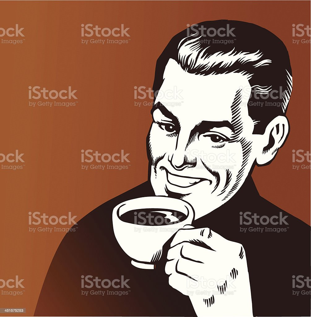 Man With Cup of Coffee royalty-free stock vector art