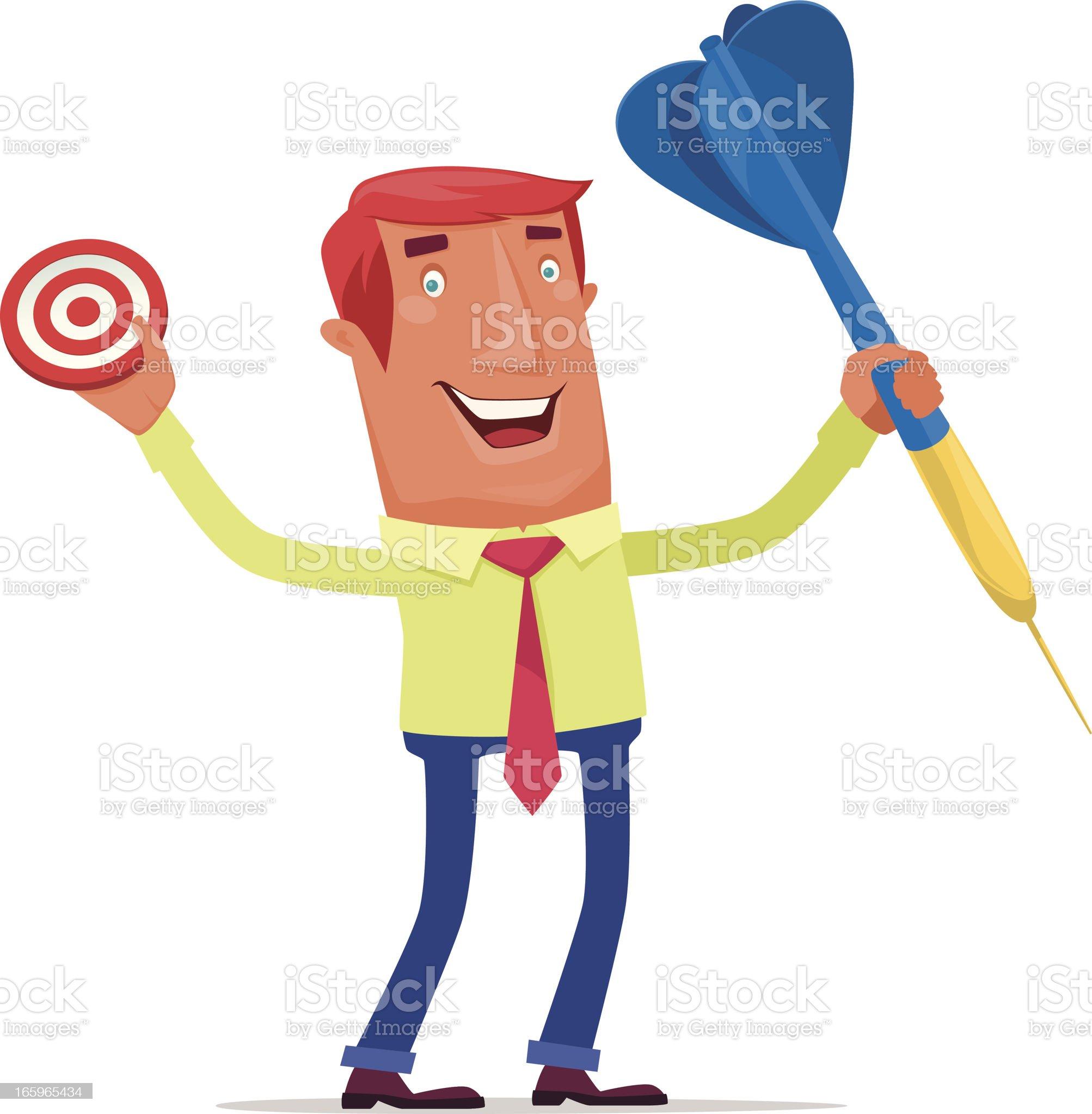 man with dart and bullseye royalty-free stock vector art