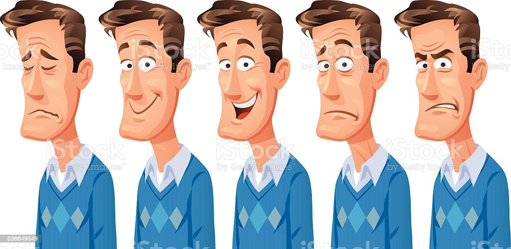 Man With Different Facial Expressions vector art illustration