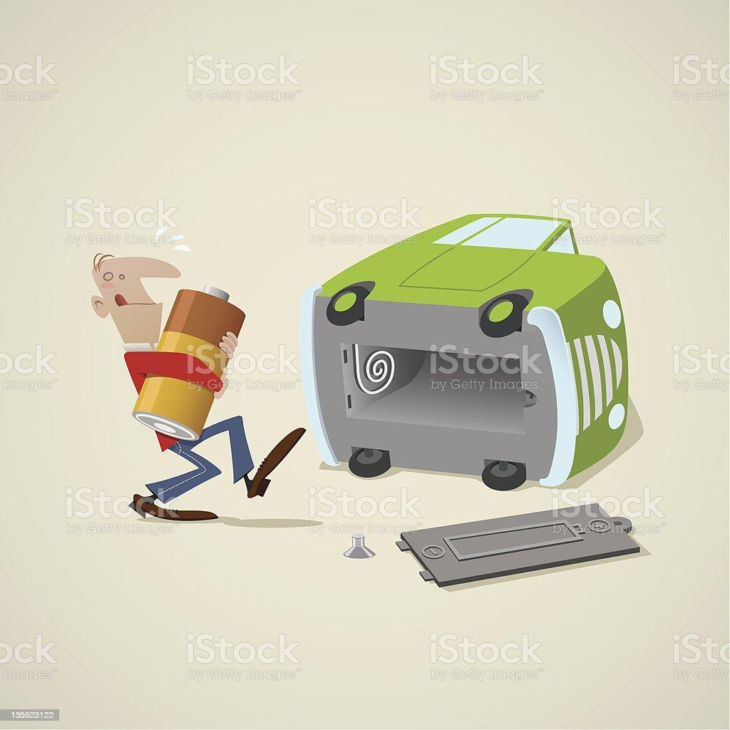Homme avec une voiture électrique stock vecteur libres de droits libre de droits