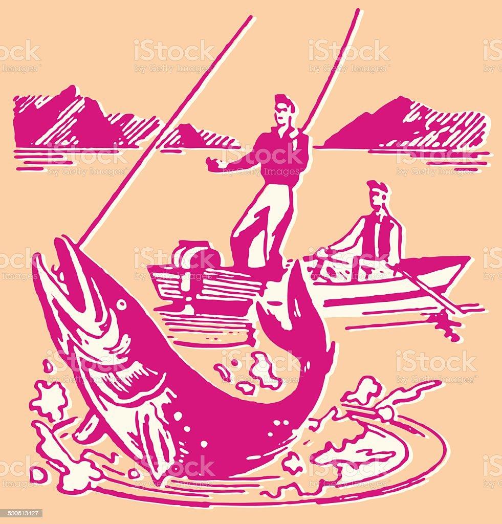 Man with Fish on Line vector art illustration