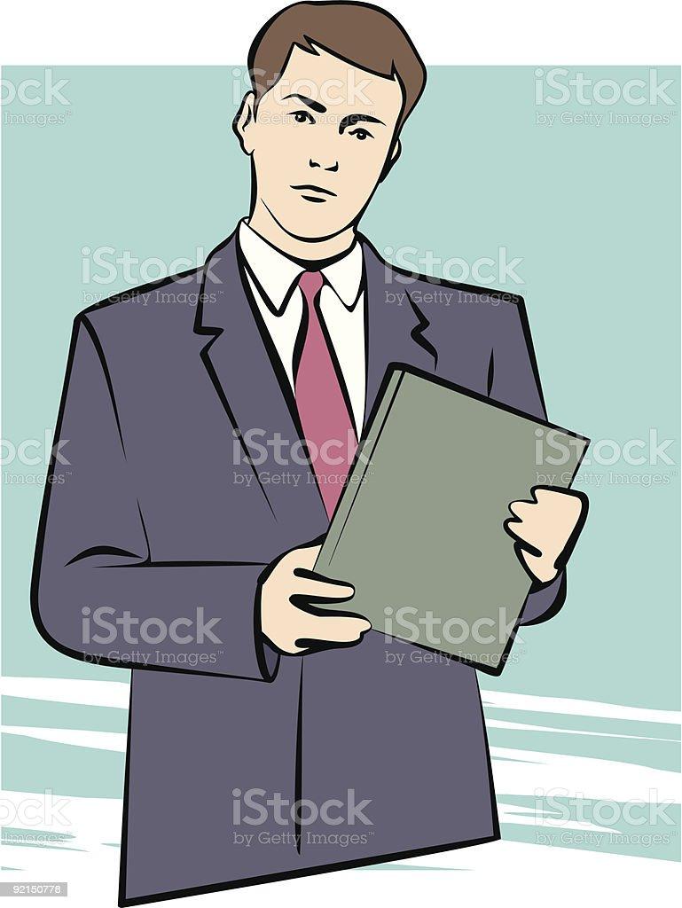 Man with Folder vector art illustration