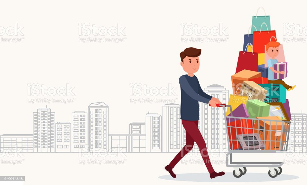 Man with full shopping basket of food and baby. vector art illustration