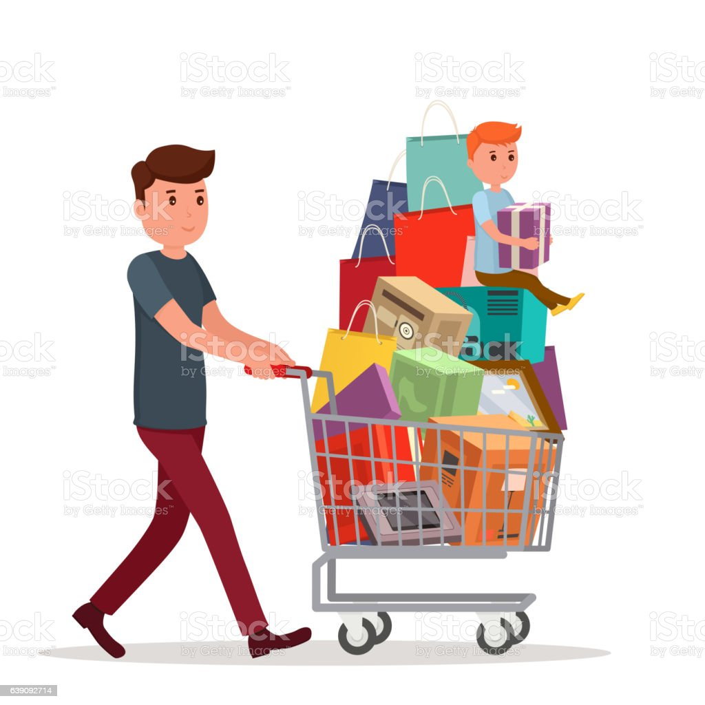 Man with full shopping basket of food. vector art illustration