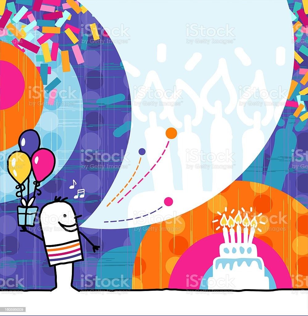 man with gift & balloons on birthday card royalty-free stock vector art