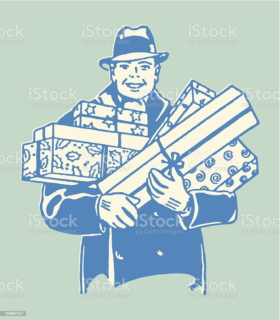 Man with Gifts vector art illustration
