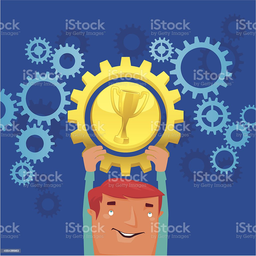 man with gold cog royalty-free stock vector art