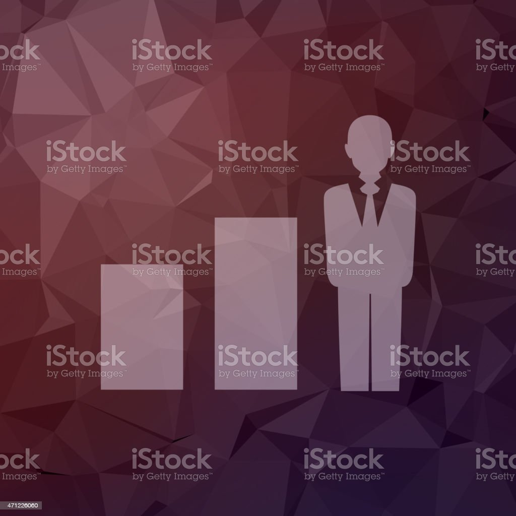 Man with growing diagram in flat style icon vector art illustration