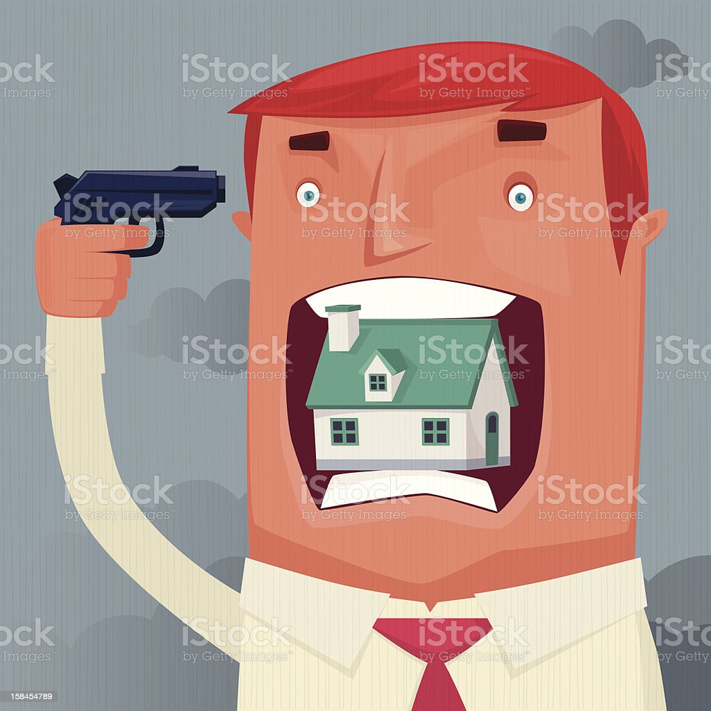 man with gun and house vector art illustration