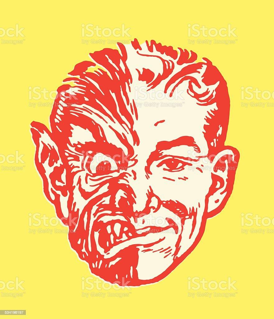 Man with Half Monster Face vector art illustration