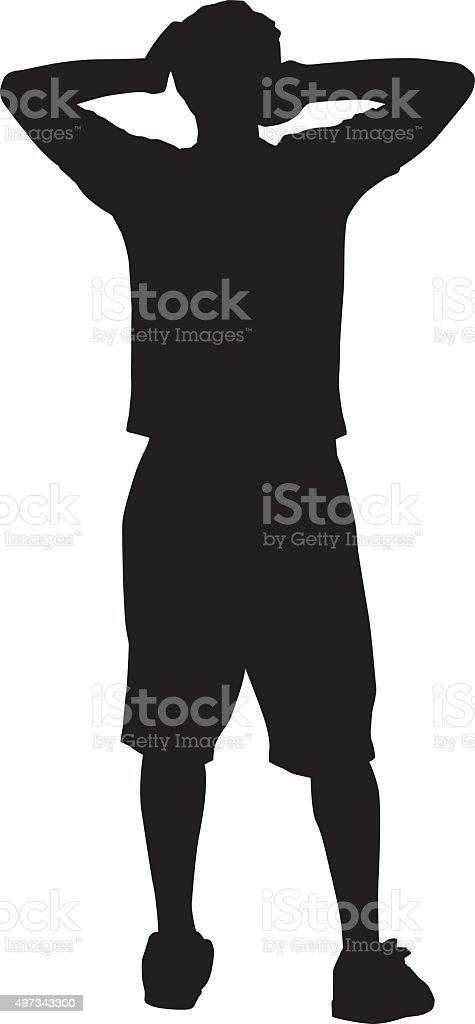 Man With Hands On Head vector art illustration