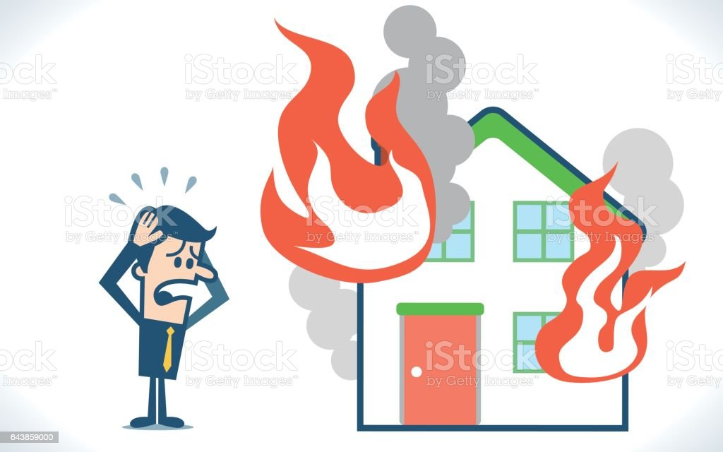 Man with house & fire vector art illustration