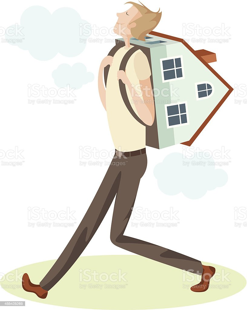 Man with house. vector art illustration