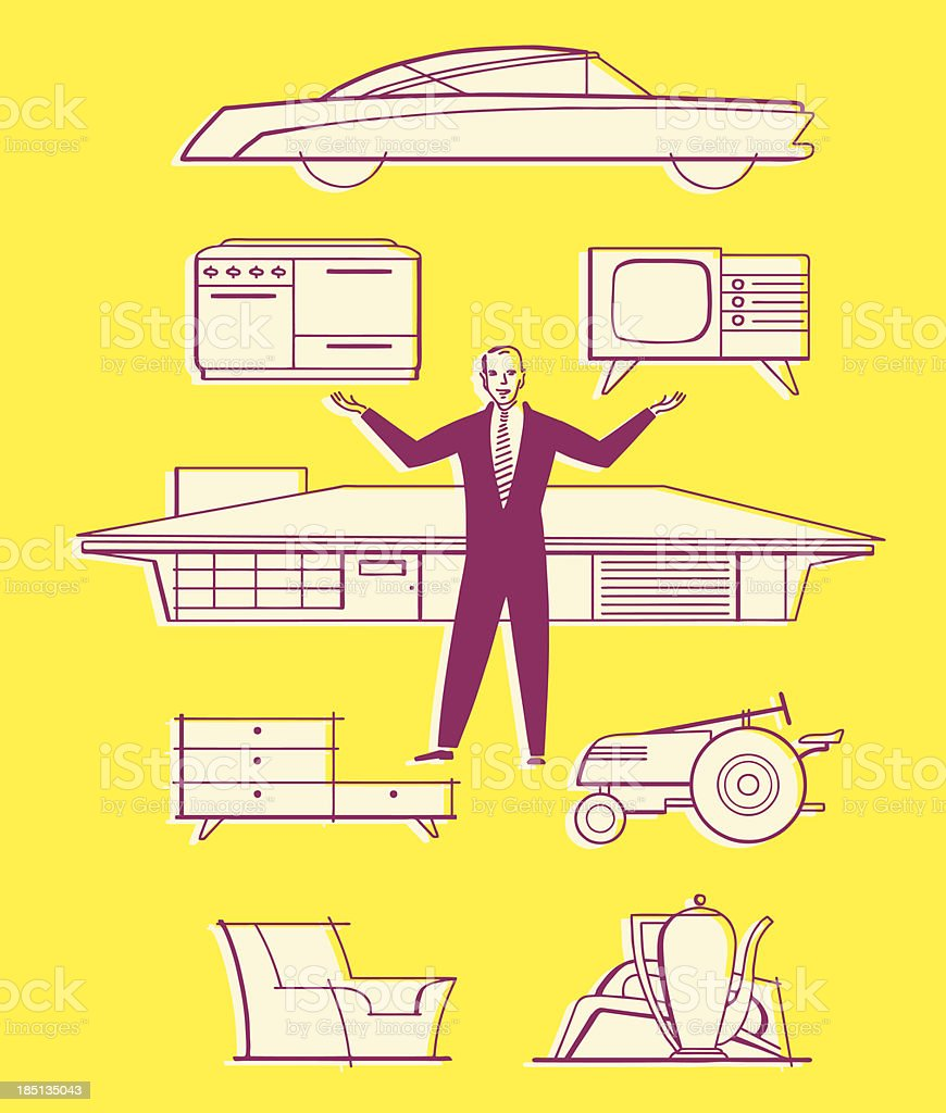 Man With Household Items and Car vector art illustration