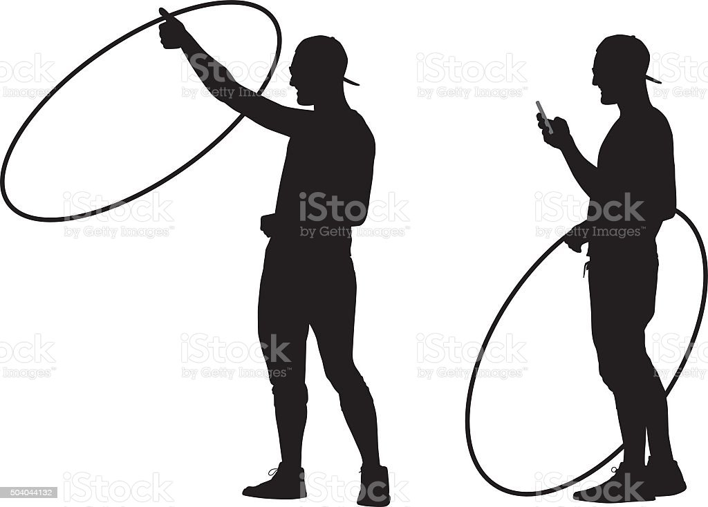 Man With Hula Hoop And Smart Phone vector art illustration