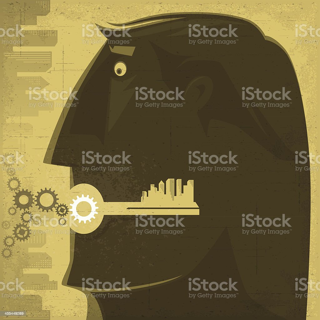 man with key and cogs silhouette royalty-free stock vector art