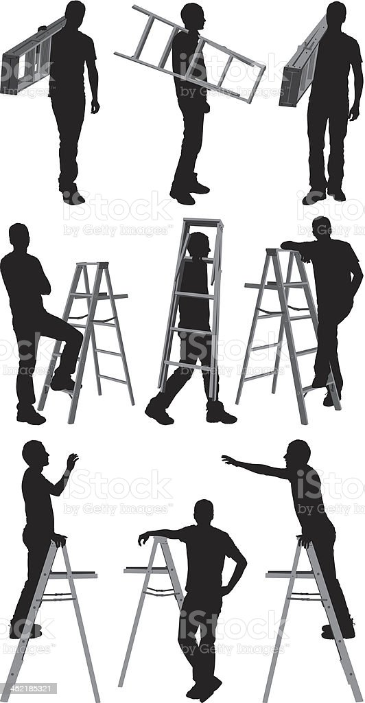 Man with ladder royalty-free stock vector art