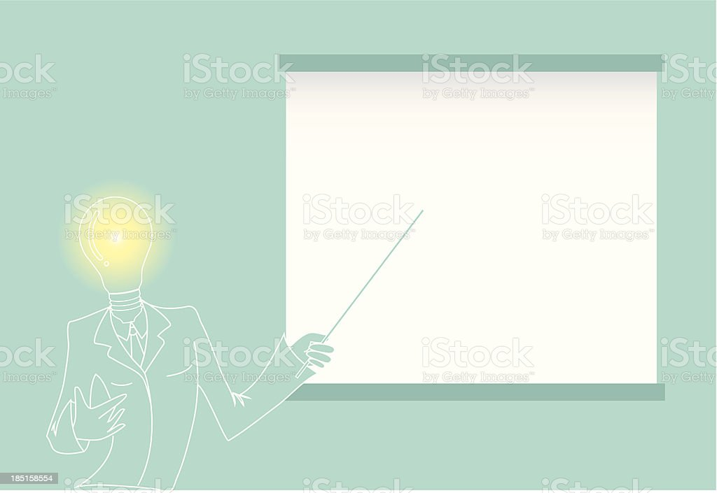 Man With Lamp Instead Of Head Explaining On White-board royalty-free stock vector art