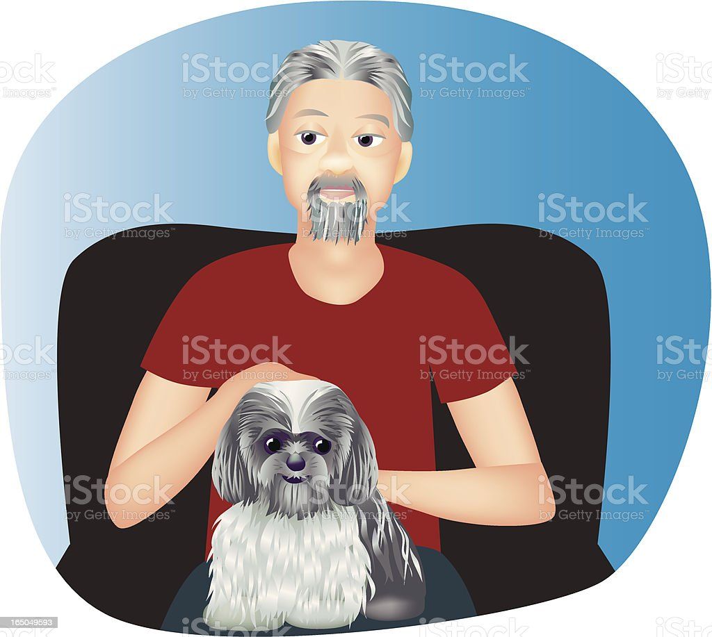 Man with lapdog royalty-free stock vector art