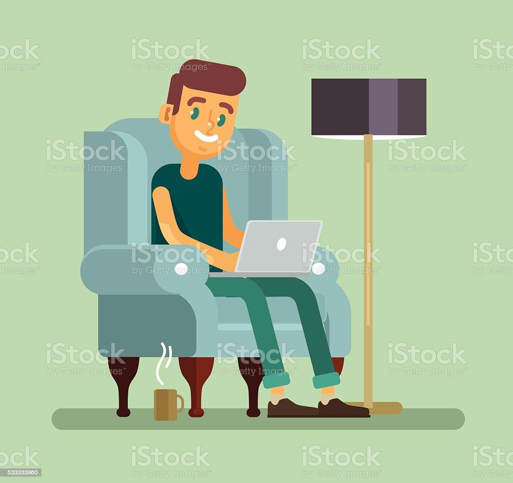 Man with laptop relaxing in chair vector art illustration
