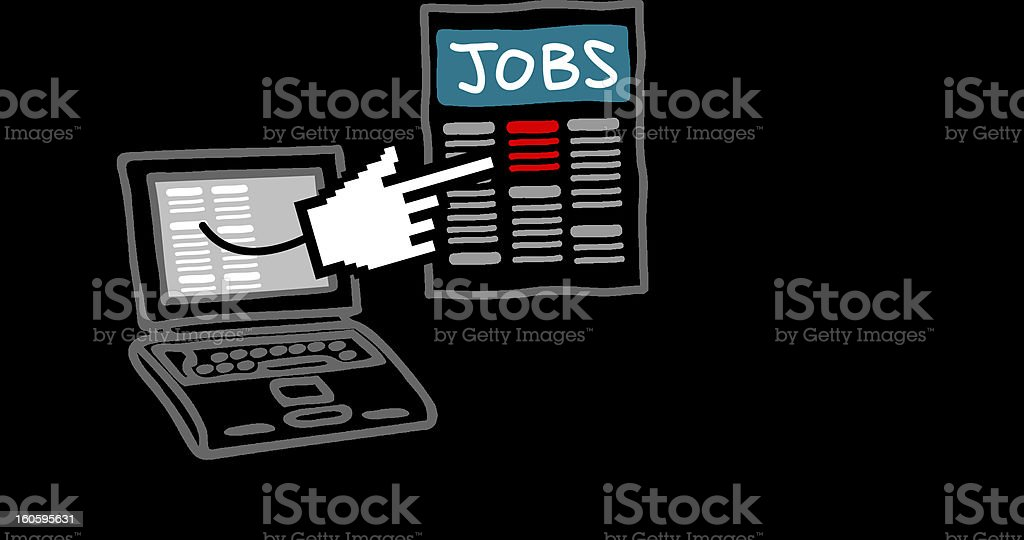 man with laptop searching for a job royalty-free stock photo
