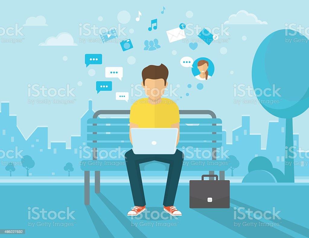 Man with laptop vector art illustration