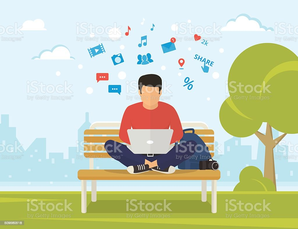 Man with laptop vector art illustration