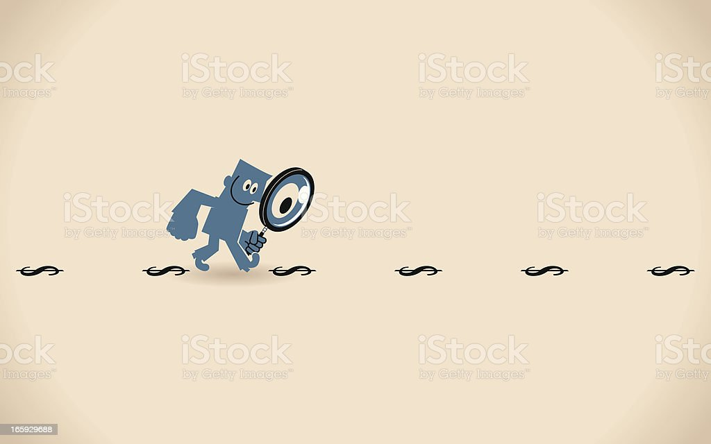 Man with Magnifying Glass Looking for Money royalty-free stock vector art