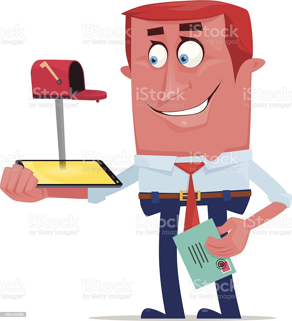 man with mailbox royalty-free stock vector art