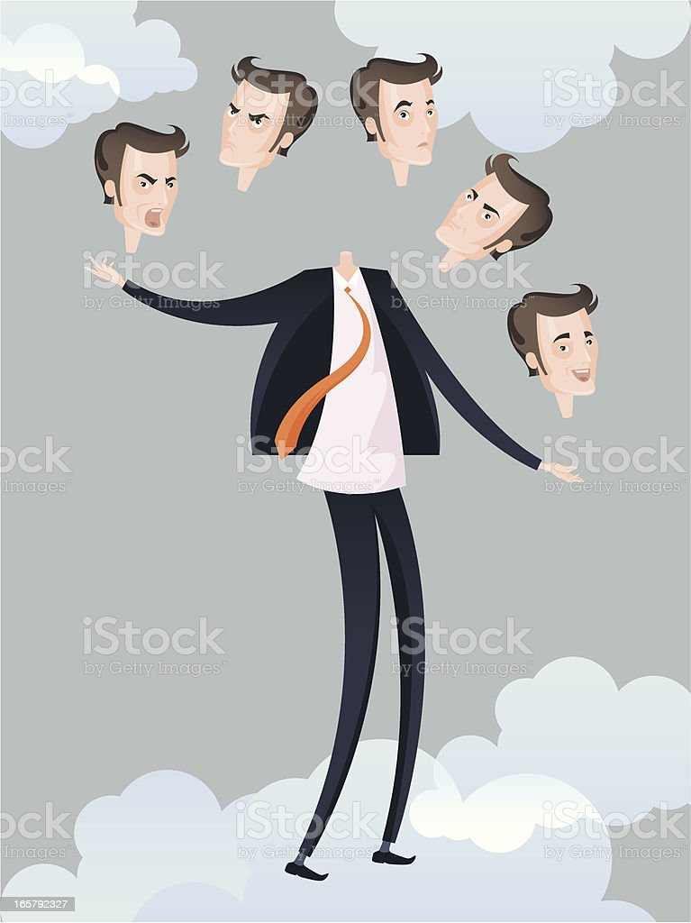 Man with many faces. royalty-free stock vector art