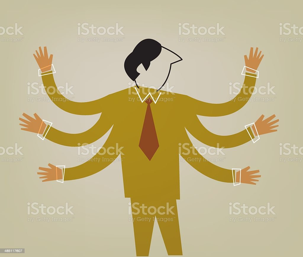 Man with many hands vector art illustration